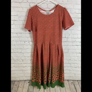 Lularoe Coral & Green Amelia Dress Size XL
